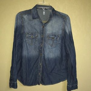 Denim Button Blouse